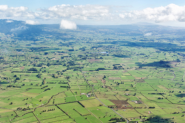 Aerial shot of New Zealand's expansive farmland