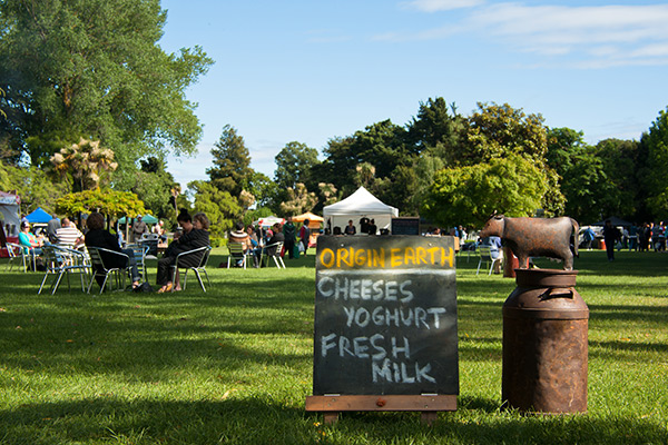 People sitting on the grass enjoying locally made dairy products