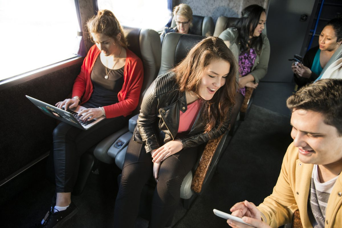 Travellers on an InterCity bus