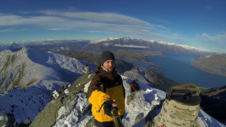 Ben Lomond summit selfie featuring on our top ten New Zealand selfie spots.