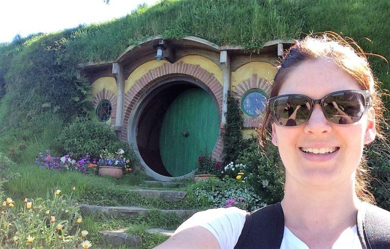 Hobbiton selfie featuring on our top ten New Zealand selfie spots.