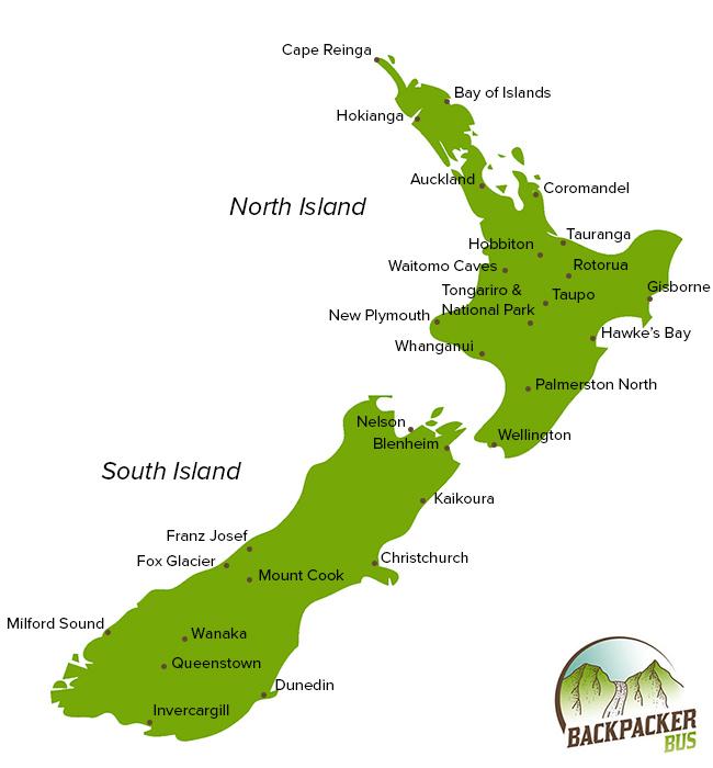 Dunedin Map New Zealand.Nz Backpacking Destinations Backpacker Bus New Zealand